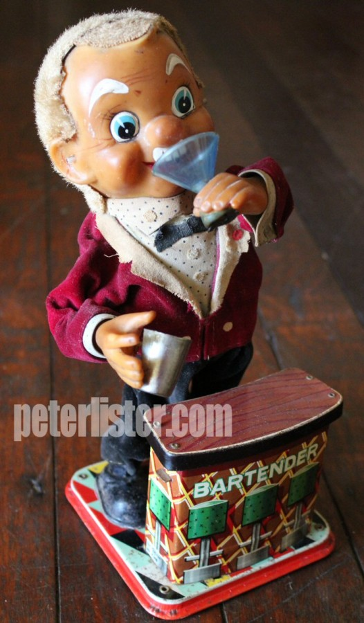 Drunk Bartender Tin Toy