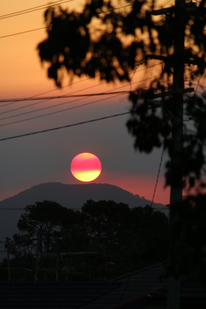 Urunga Sun Going Down During Bush Fire