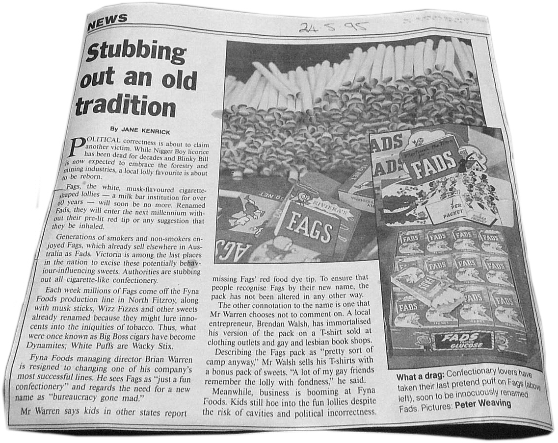 Fads Lollies Old Newspaper Clipping